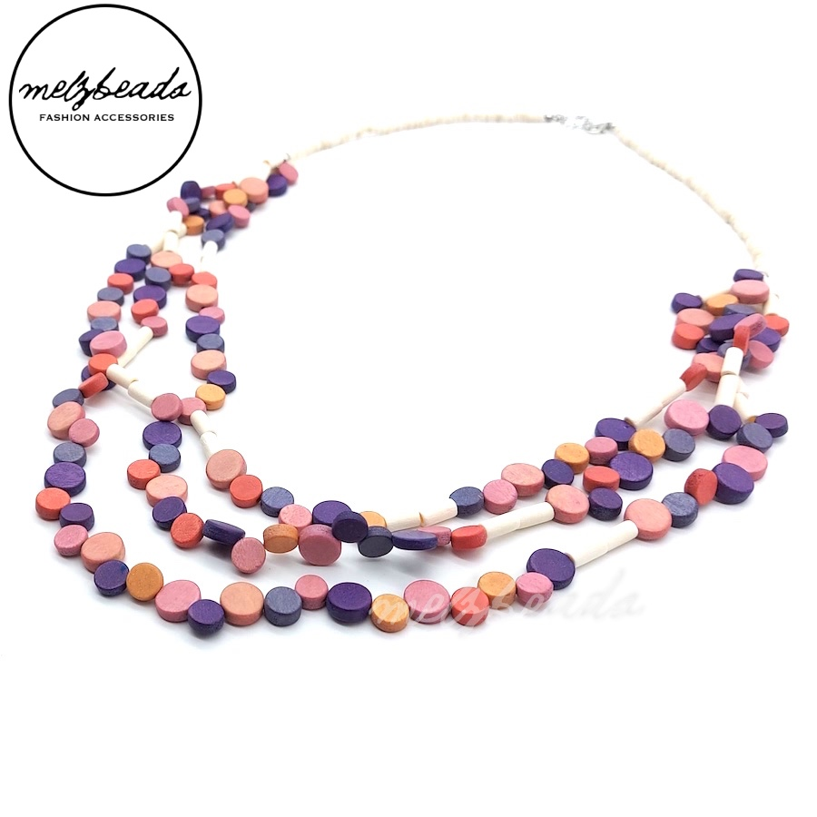 White Purple Pink Multi-Strand Wooden Confetti Necklace