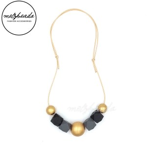Matte Gold Black Grey Wooden Polygon Geometric Bead Necklace
