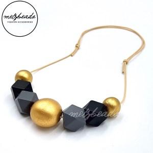 Matte Gold Black Grey Wooden Polygon Geometric Bead Necklace