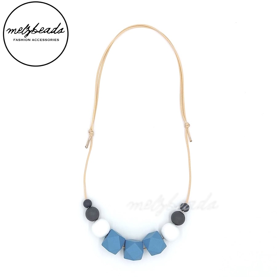 Blue White Grey Wooden Polygon Geometric Bead Necklace