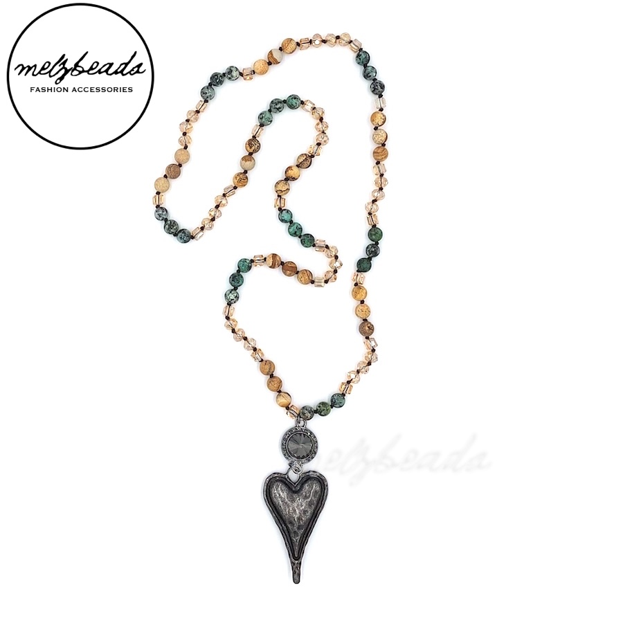 Long Boho Knotted Necklace with Heart Pendant