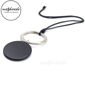Black Wooden Disk Silver Pendant Necklace