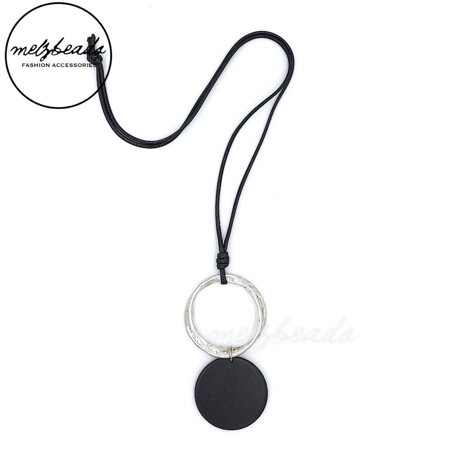 Black Wooden Disk Silver Pendant Necklace