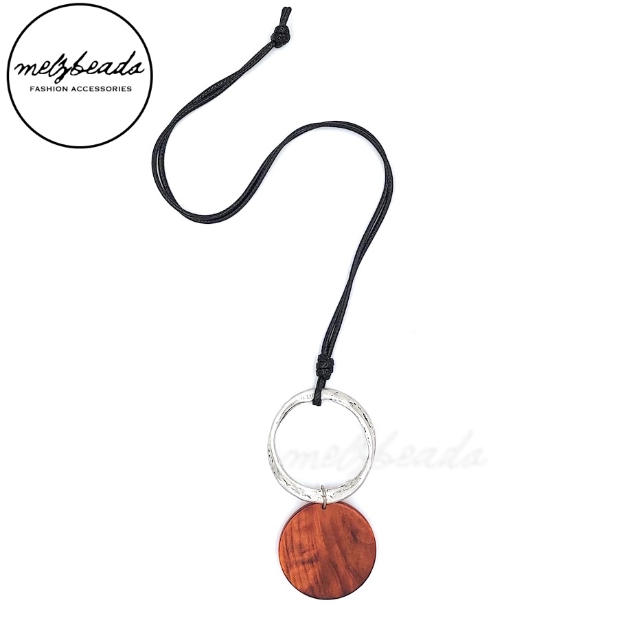 Natural Wooden Disk Silver Pendant Necklace