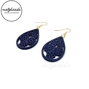 Navy Blue Wooden Tear Drop Flower Earrings