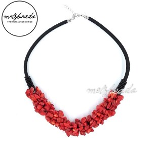 Beaded Red Coral Choker Necklace