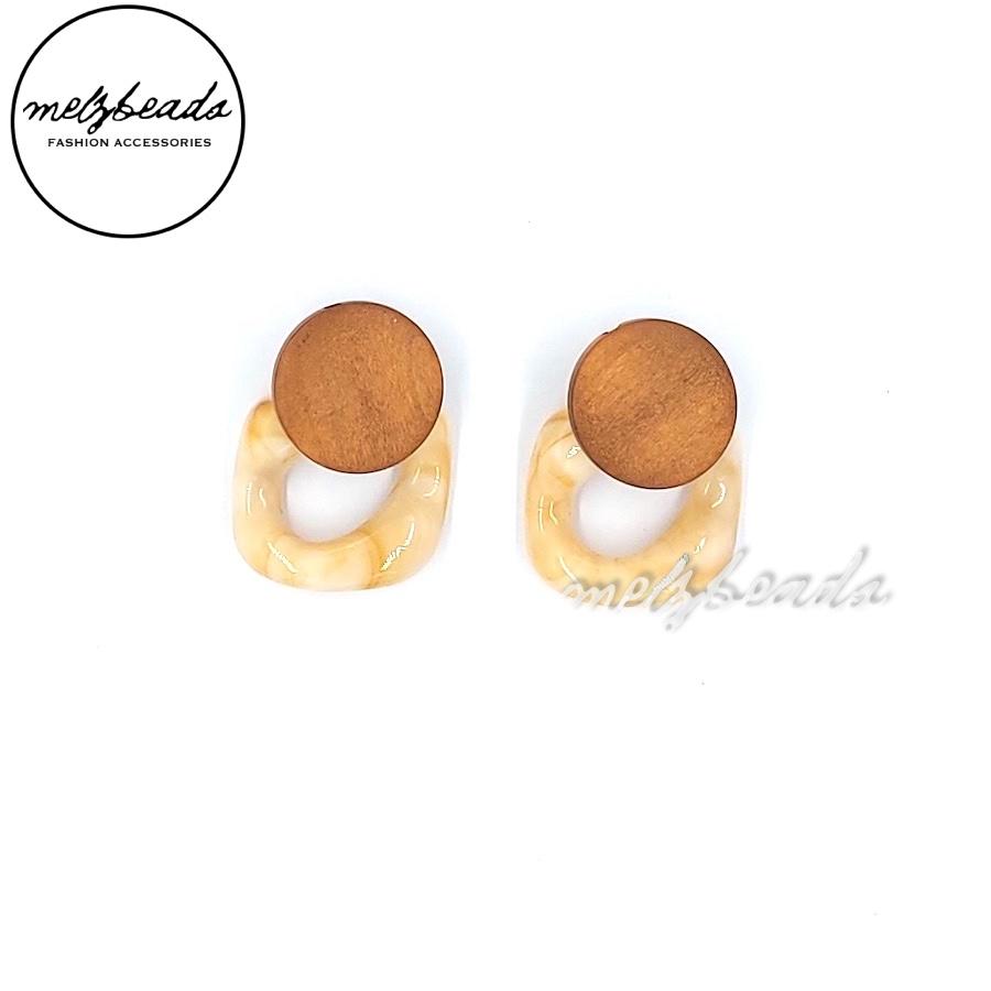 Square Resin Wooden Earrings