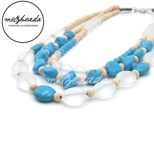 Multi Layered Turquoise Wood Beaded Necklace