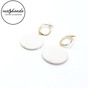 White Circle Gold Earrings