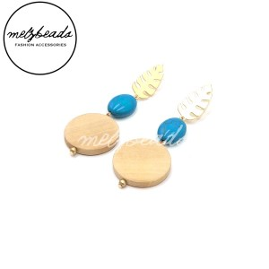 Gold Leaves Turquoise Wooden Disc Earrings