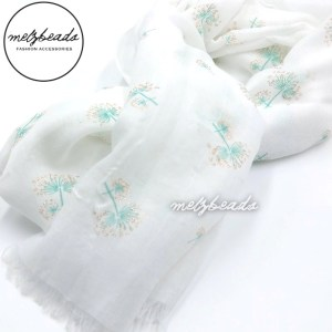 White Teal Tree With Gold Shimmer Scarf