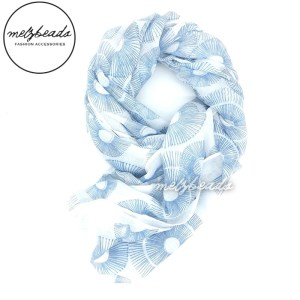 White Scarf with Blue Grey Circles