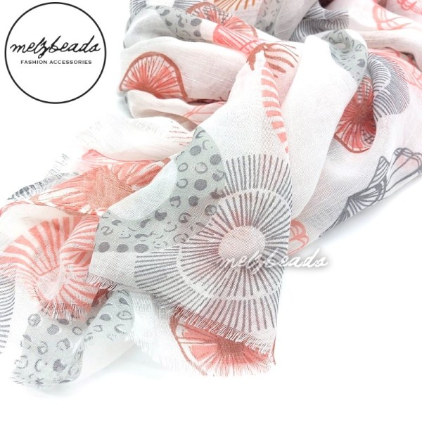 Grey Pink Shell Scarf
