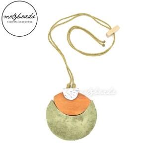 Large Circle Pendant Wooden Necklace