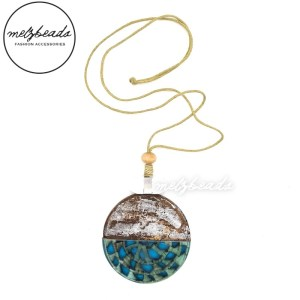 Large Wood and Resin Pendant Necklace