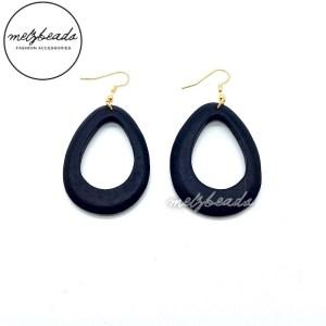 Dark Blue Tear Drop Wooden Earrings