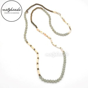 Long Shell Semi Previous Beaded Necklace