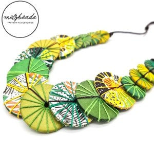 Green Yellow Yarn Wooden Button Necklace