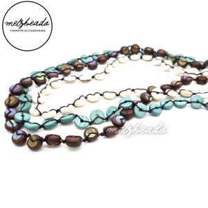 Brown Blue White Wooden Button Layered Beaded Necklace