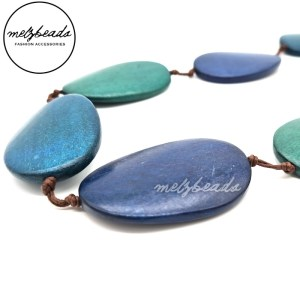 Shades of Blue Large Wooden Pebble Beaded Necklace