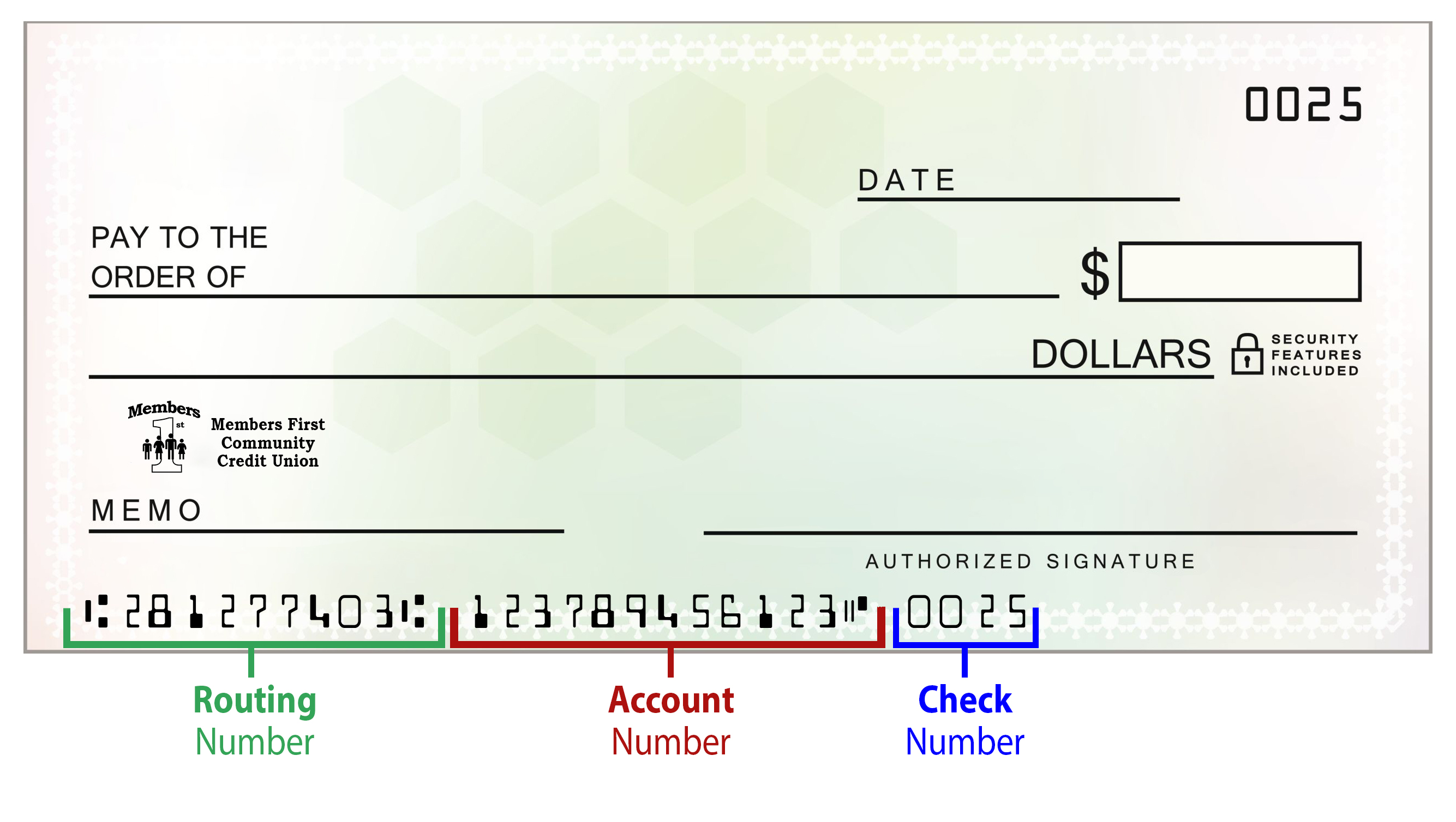 hight resolution of blank check routing account numbers