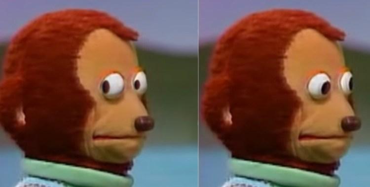 """Create meme """"Cartoon, meme with a toy monkey, monkey puppet meme ..."""