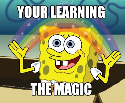 spongebob learning magic meme