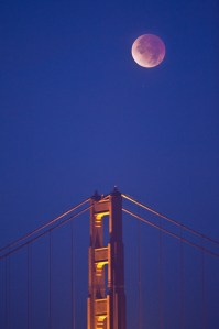 South Tower of Golden Gate Bridge at Full Eclipse