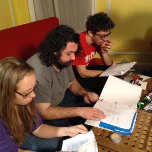 Director Sean Mannion reviewing the next scene with DP Peter Westervelt and Producer Carolyn Maher