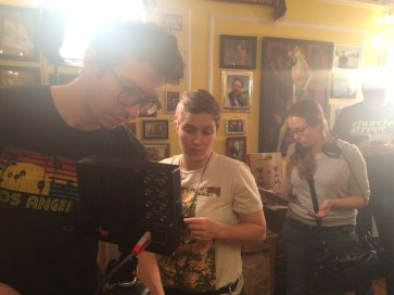 DP Peter Westervelt and AC Diana Molina checking out the shot on the monitor. January 2015
