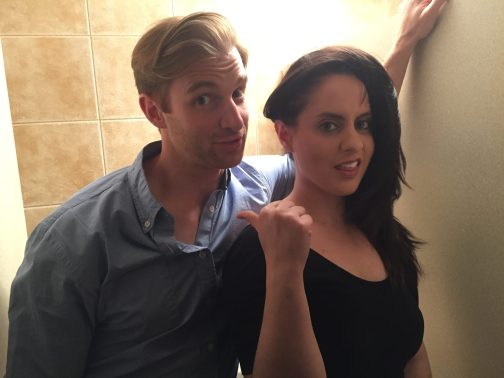 Corinne Fisher and Jamie Williford goofing off in the bathroom March 2015