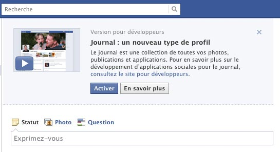 activer journal facebook