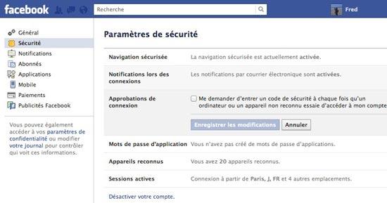 code securite connexion facebook