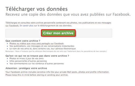créer mon archive facebook