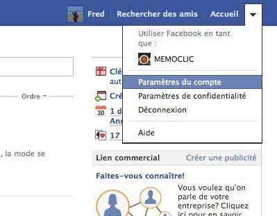 parametres de compte facebook