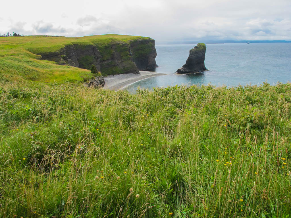View of cliffs and sea from Bell Island, Newfoundland