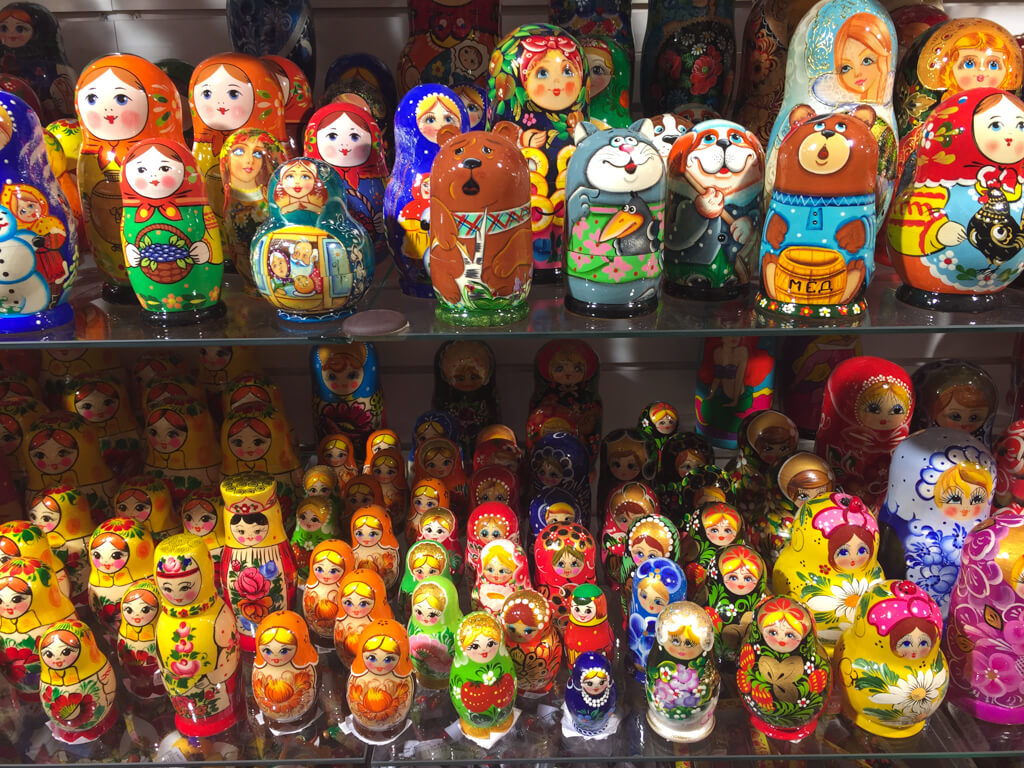 Colourful Matryoshka dolls in a shop in St. Petersburg, Russia