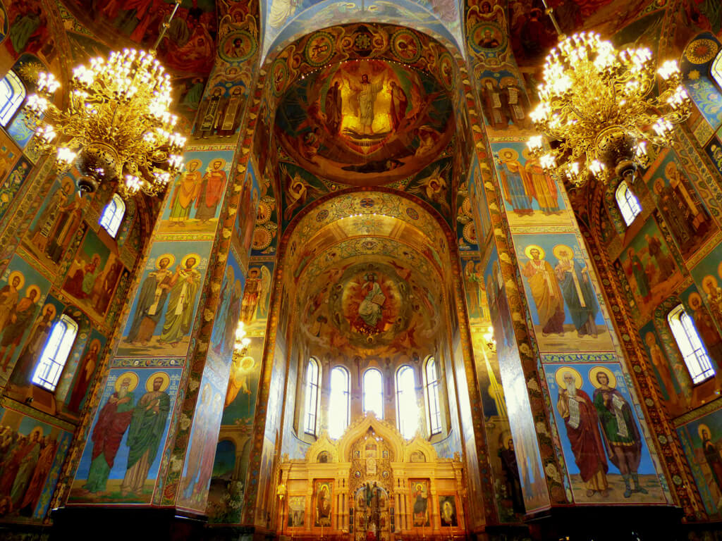 Beautiful Interior of Church of Our Saviour on Spilled Blood