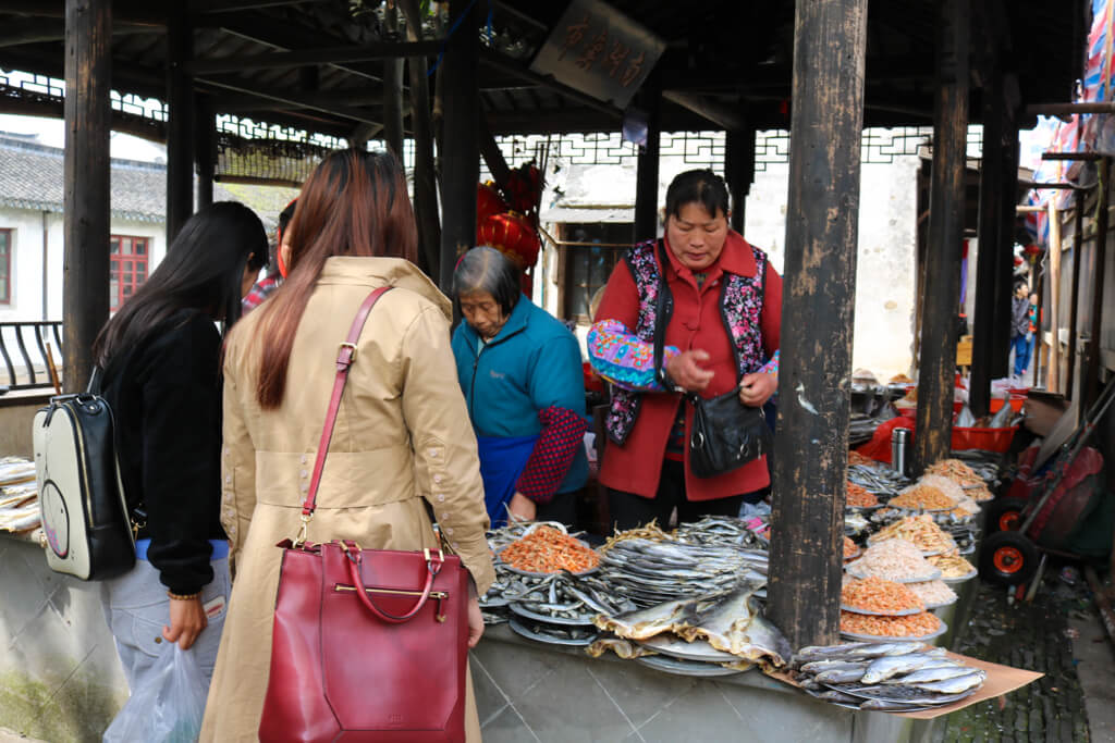 A fish market in Zhouzhuang Water Town