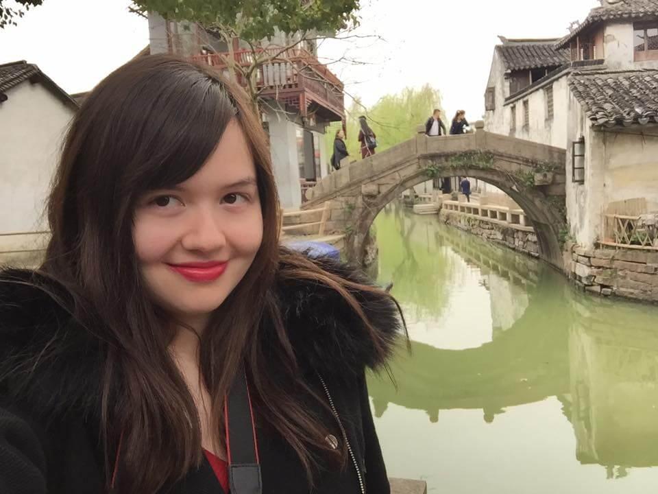A selfie taken in Zhouzhang Water Town