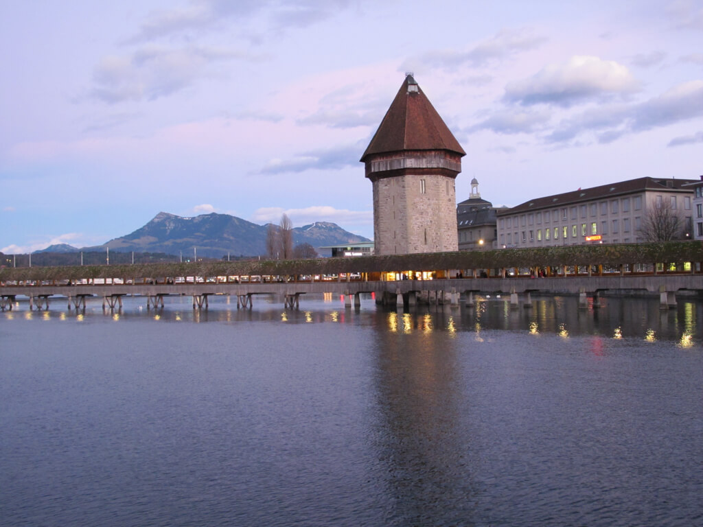 Chapel Bridge in Lucerne at sunset