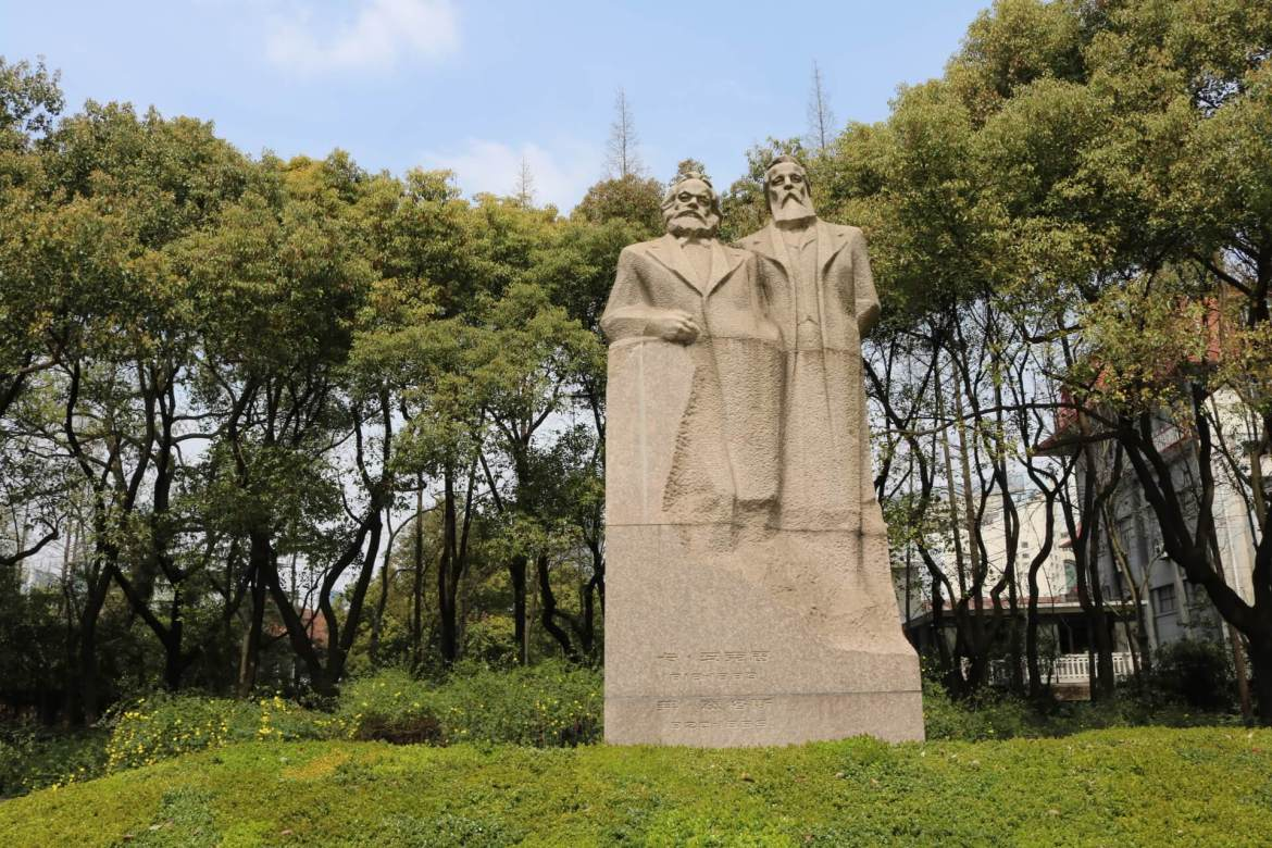 Statues of Marx and Engels in Fuxing Park