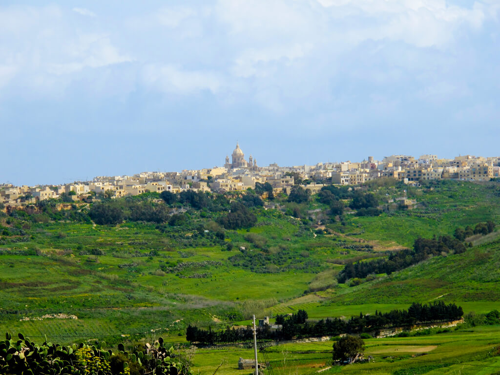 Lush green landscape on Gozo, Malta