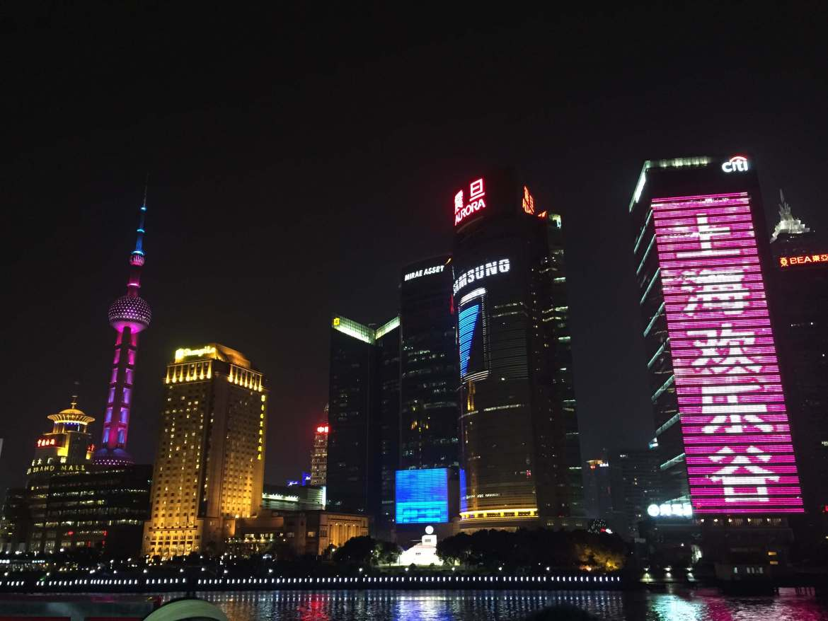 View of Shanghai's Financial District from a boat on the Huangpu River