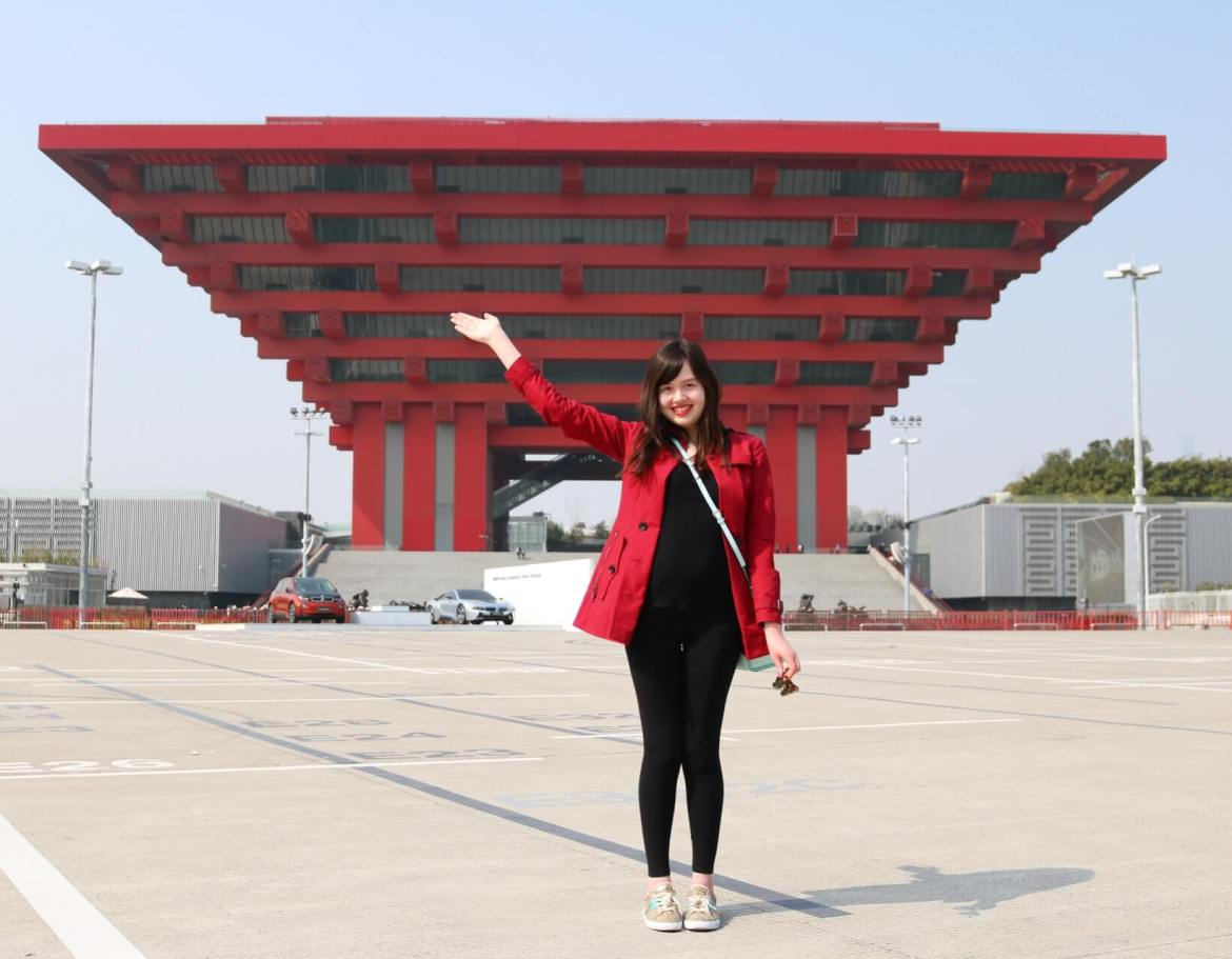 The red and impressive Chinese Pavilion in Shanghai.