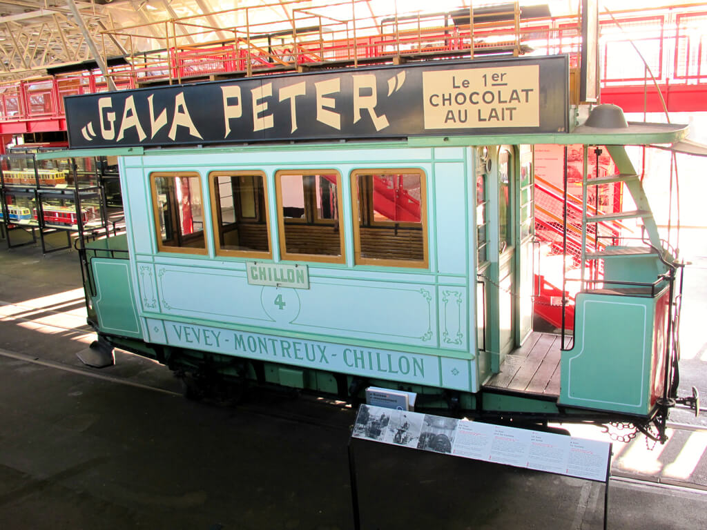 A tram on display at the Swiss Transport Museum