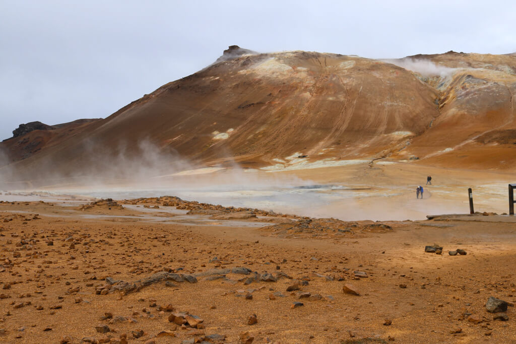 Sulfur steam emitting from Hverir geothermal field in Iceland