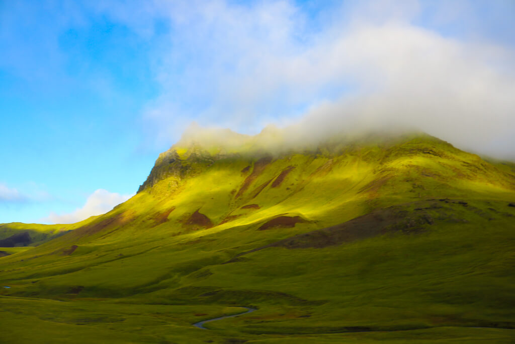 Beautiful green mountain in South Iceland