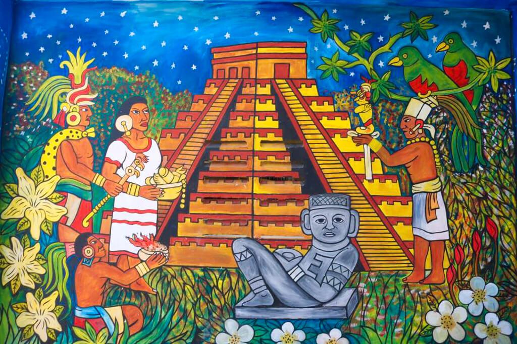 Painting of Chichen Itza outside a Mayan Gift Shop