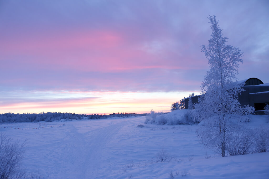 Beautiful pink and purple sunset in Yellowknife